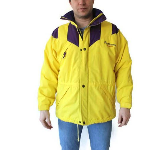 677ce592611c5 FIVE SEASONS Vintage Sports Jacket Yellow Blue Color Block Hipster  Windbreaker Snow Jacket Winter Sp