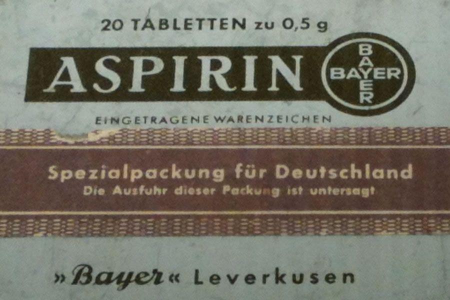 Aspirin Verpackung, um 1940