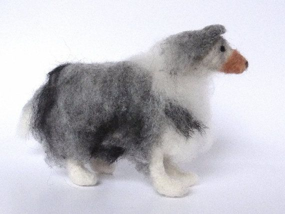 Needle Felted Blue Merle Collie by WoollyWaggers on Etsy, $70.00