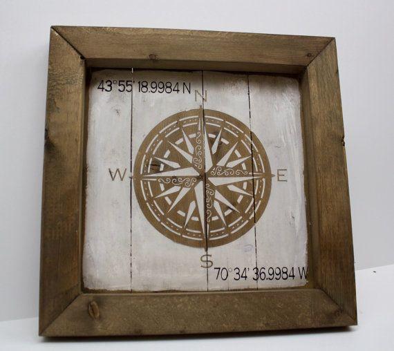 Latitude And Longitude Framed Rescued Wood Sign. Wedding