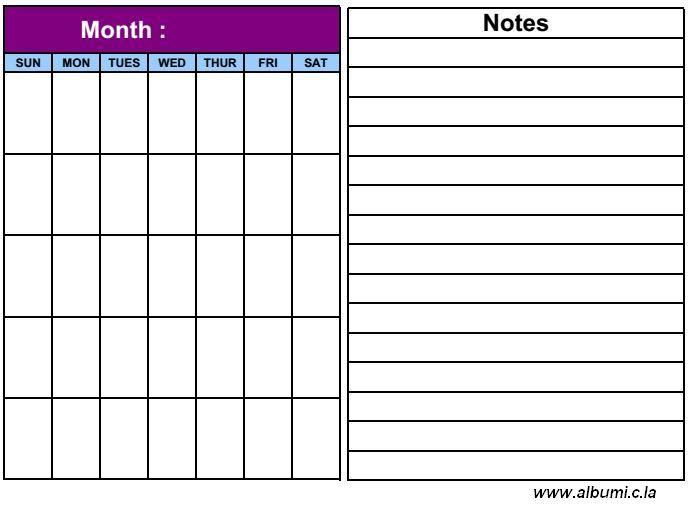 Printable Blank Calendar Grid For  With Notes  Calendar