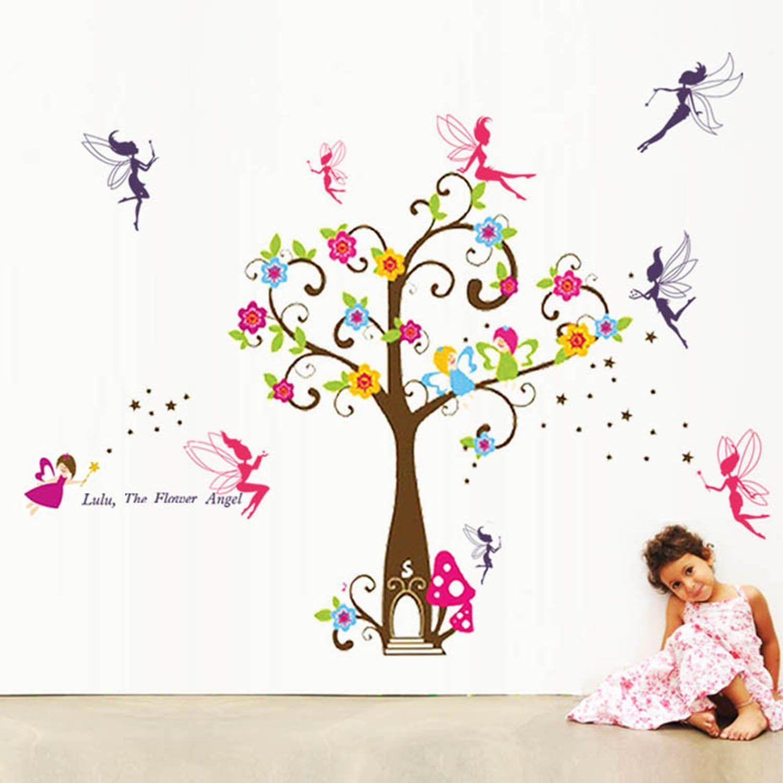 Walplus Angle Tree And Fairy Wall Stickers Amazon Co Uk Diy