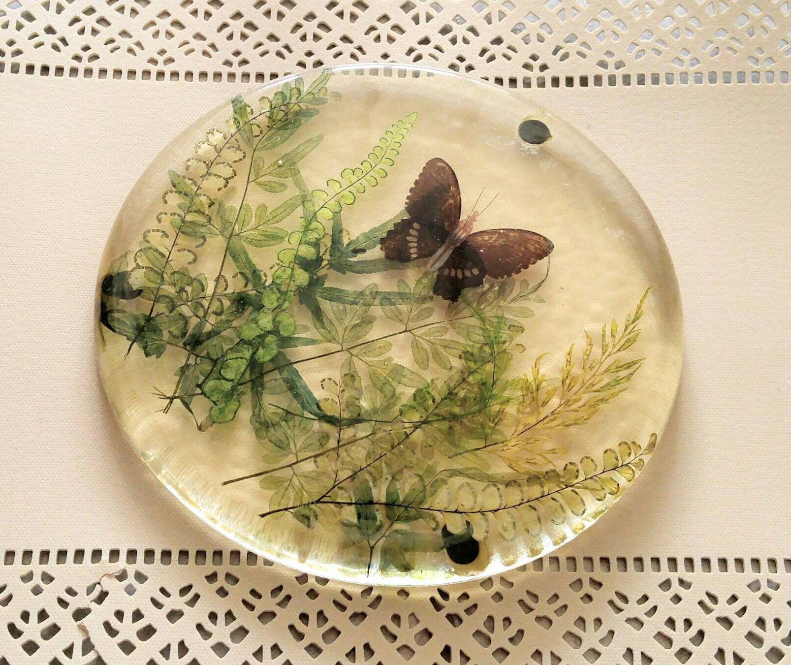 1970\'s Nature Trivet Pressed Butterfly And Ferns Vintage Round Resin ...