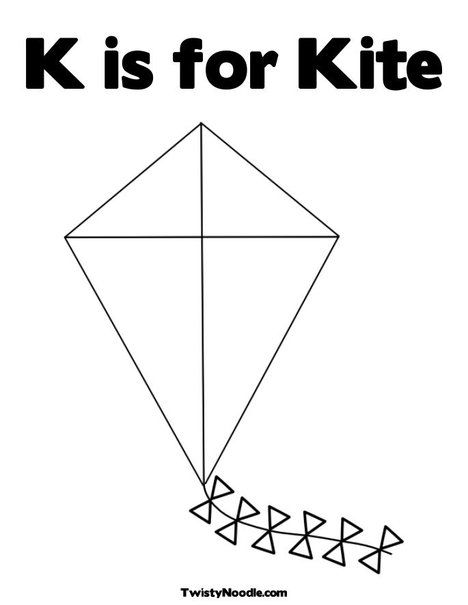 K is for Kite Coloring Page from TwistyNoodle.com