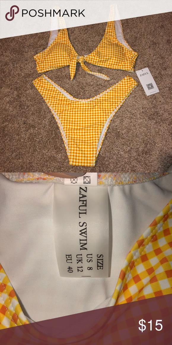 Zaful bikini set nwt never been worn has protective liner still attacked true to size on chart  mustard yellow print  both also my posh closet bikinis rh pinterest