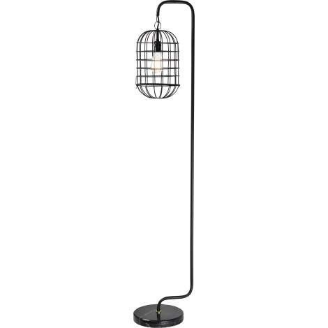 The Industrial Revolution meets modern ironworks in the welded design of this decorative floor lamp. Evocative of early 20th-century factory lanterns, a shapely iron arm holds an oval iron cage with a matte black finish. A polished black granite base provides the perfect counter balance for this eclectic light fixture beside tables and chairs.