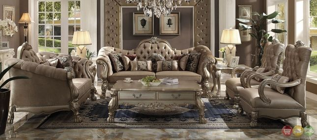 Dresden Victorian Style Bone Velvet Upholstered Living Room Sofa Set