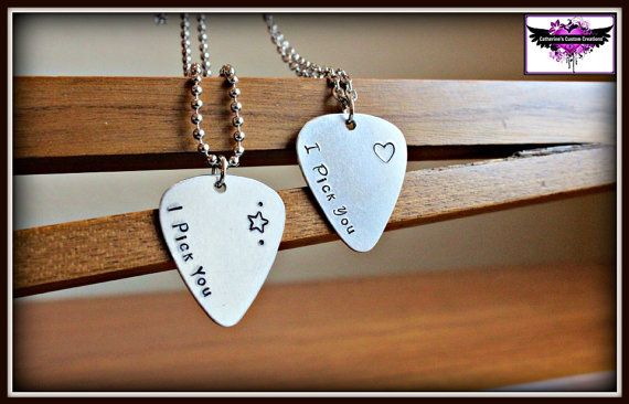 I Pick You - Couples necklace set - guitar pick music lover  on Etsy, $22.00