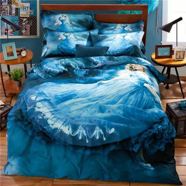 3d fairy princess blue bedding set for