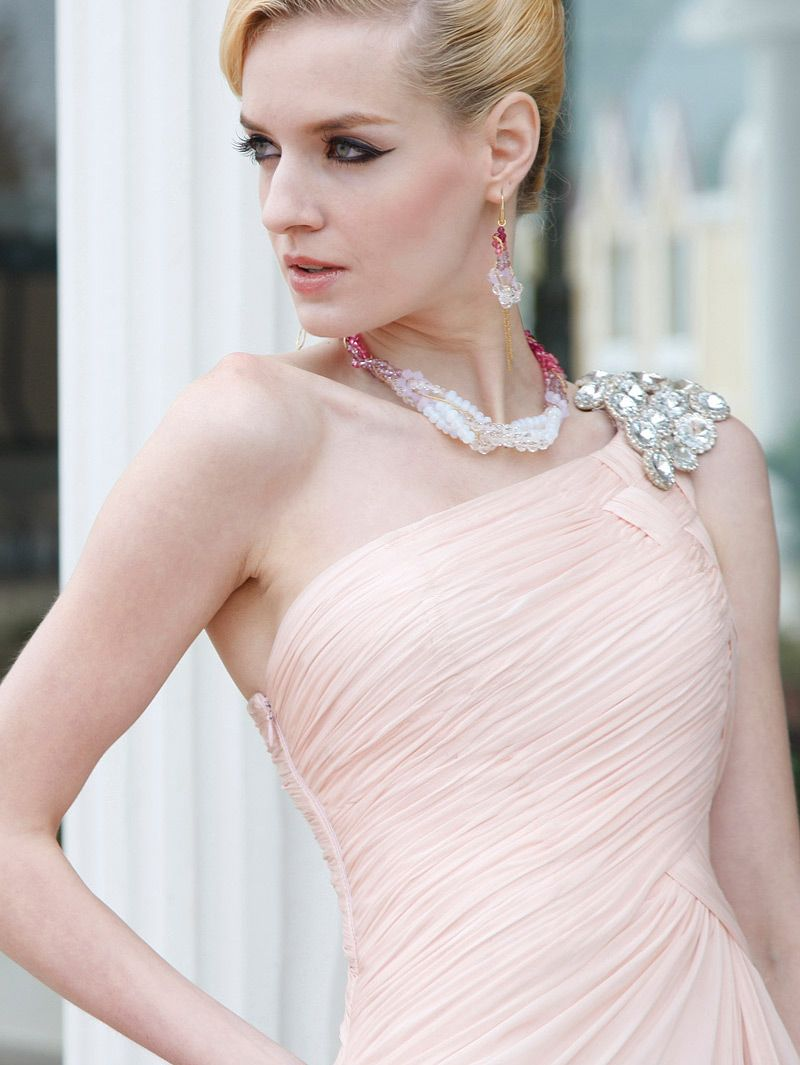 Light pink one shoulder evening dress with silver beads evening