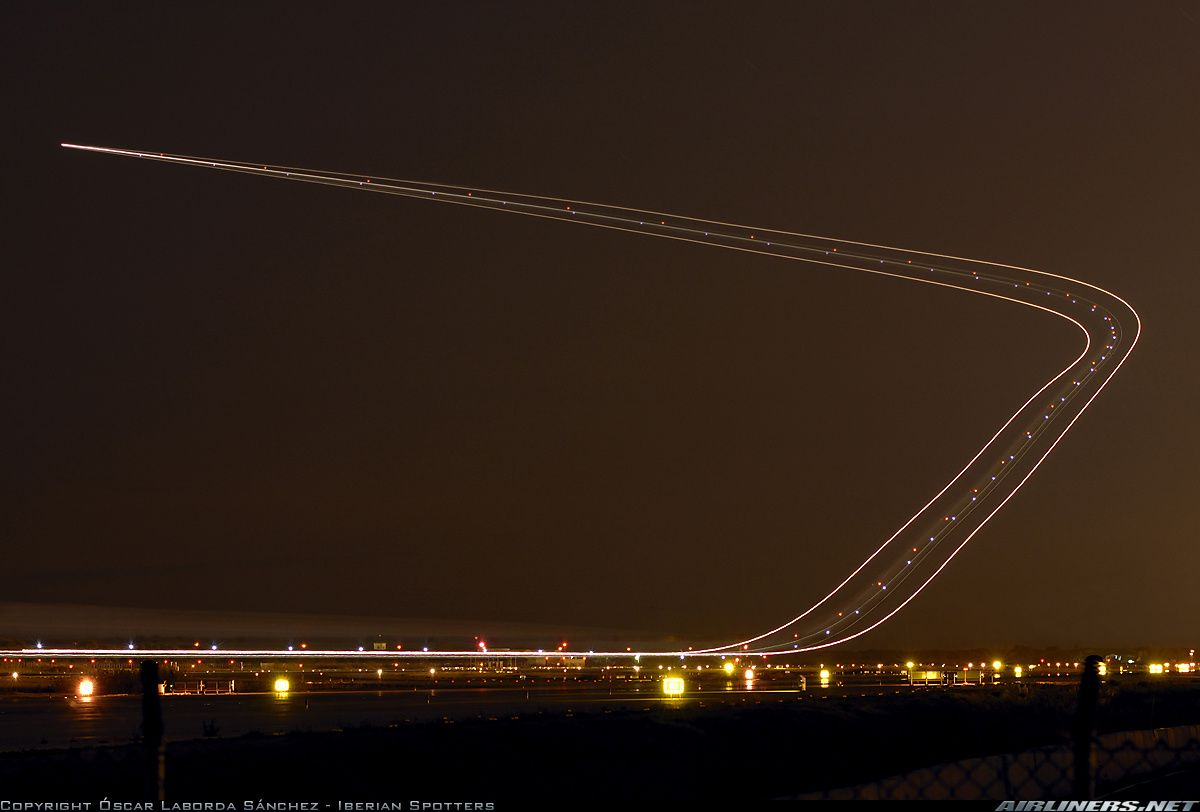Long Exposure Photograph Of An Aircraft Taking Off Long Exposure