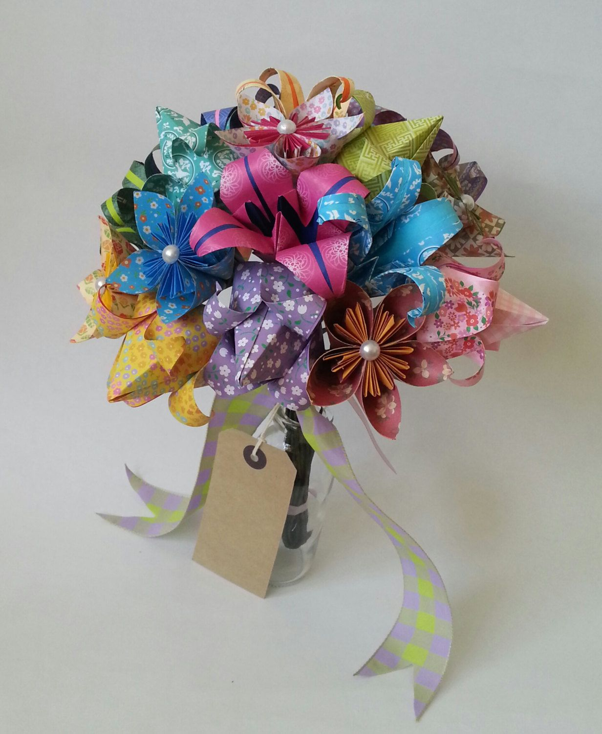 Paper Anniversary Gift Origami Bouquet Tulip Lily Daisy Colourful