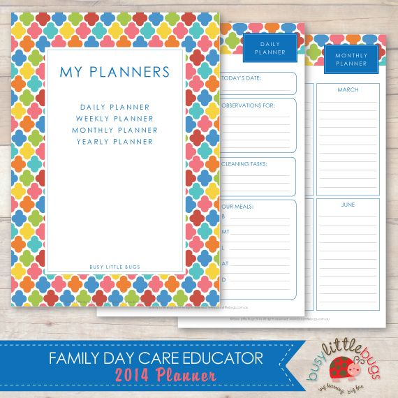busy little bugs 2014 family day care educator planner my planner