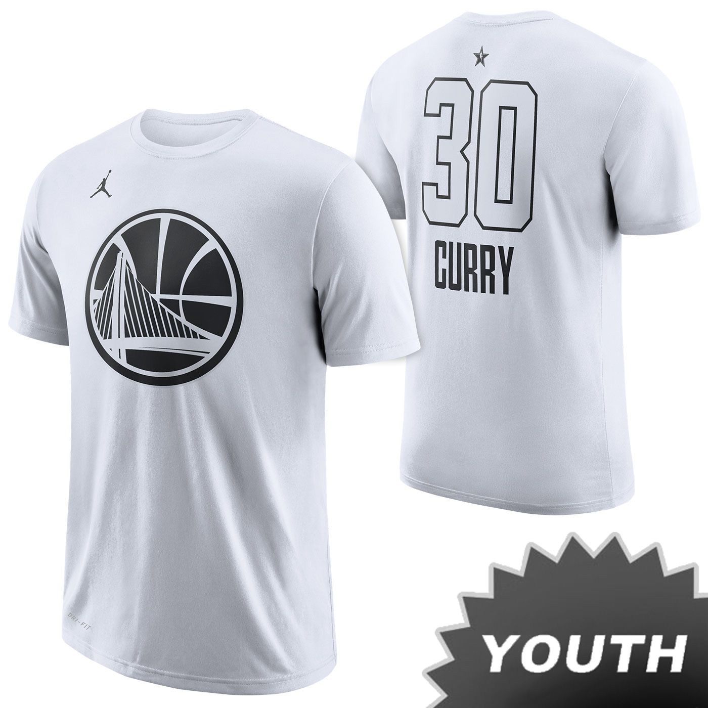 Nike 2018 NBA All-Star Edition Stephen Curry  30 Youth Jordan Name   Number  Tee - White c8316218e93