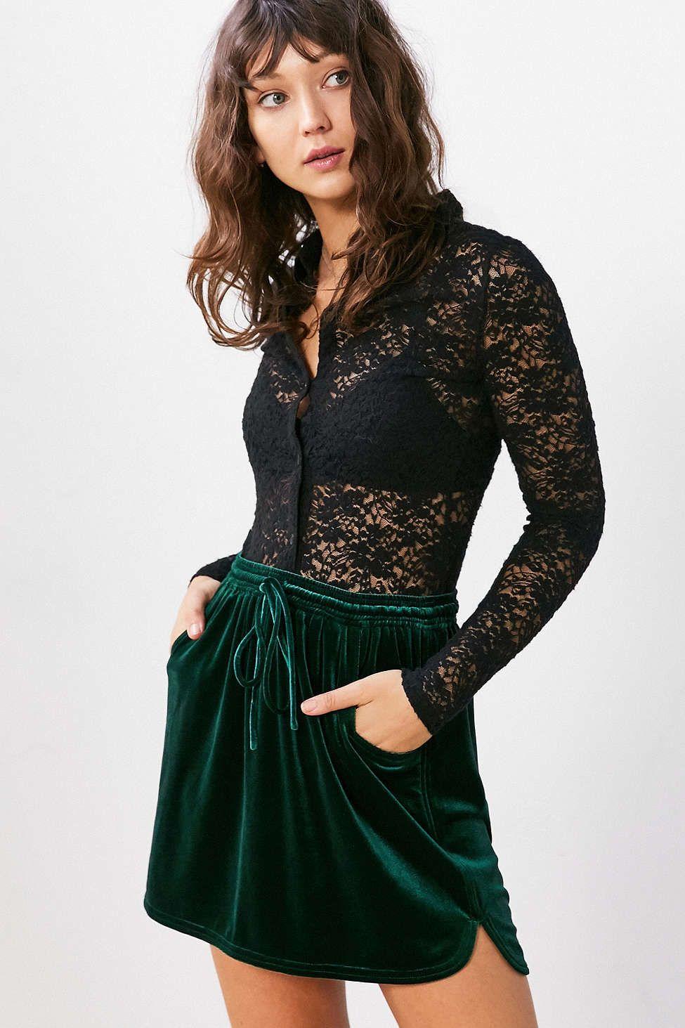 Silence + Noise Velvet Tie-Waist Mini Skirt - Urban Outfitters
