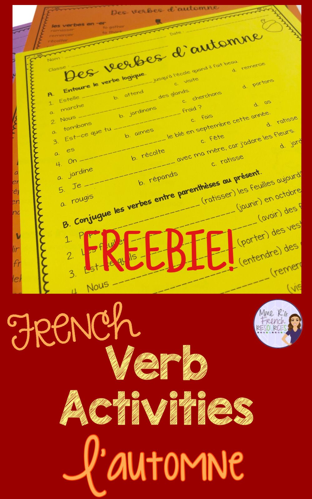 French Fall Verb Worksheets Verbes D Automne French Verbs Conjugation French Teaching Resources Teaching French [ 1600 x 1000 Pixel ]
