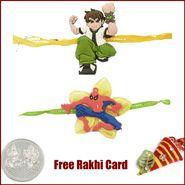 2 Set Of Rakhi With Handmade Card