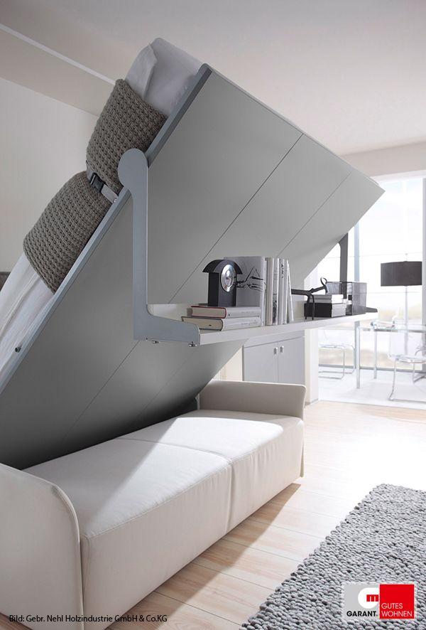 kleine r ume einrichten leicht gemacht mit einem schrankbett living r ume in 2019 pinterest. Black Bedroom Furniture Sets. Home Design Ideas