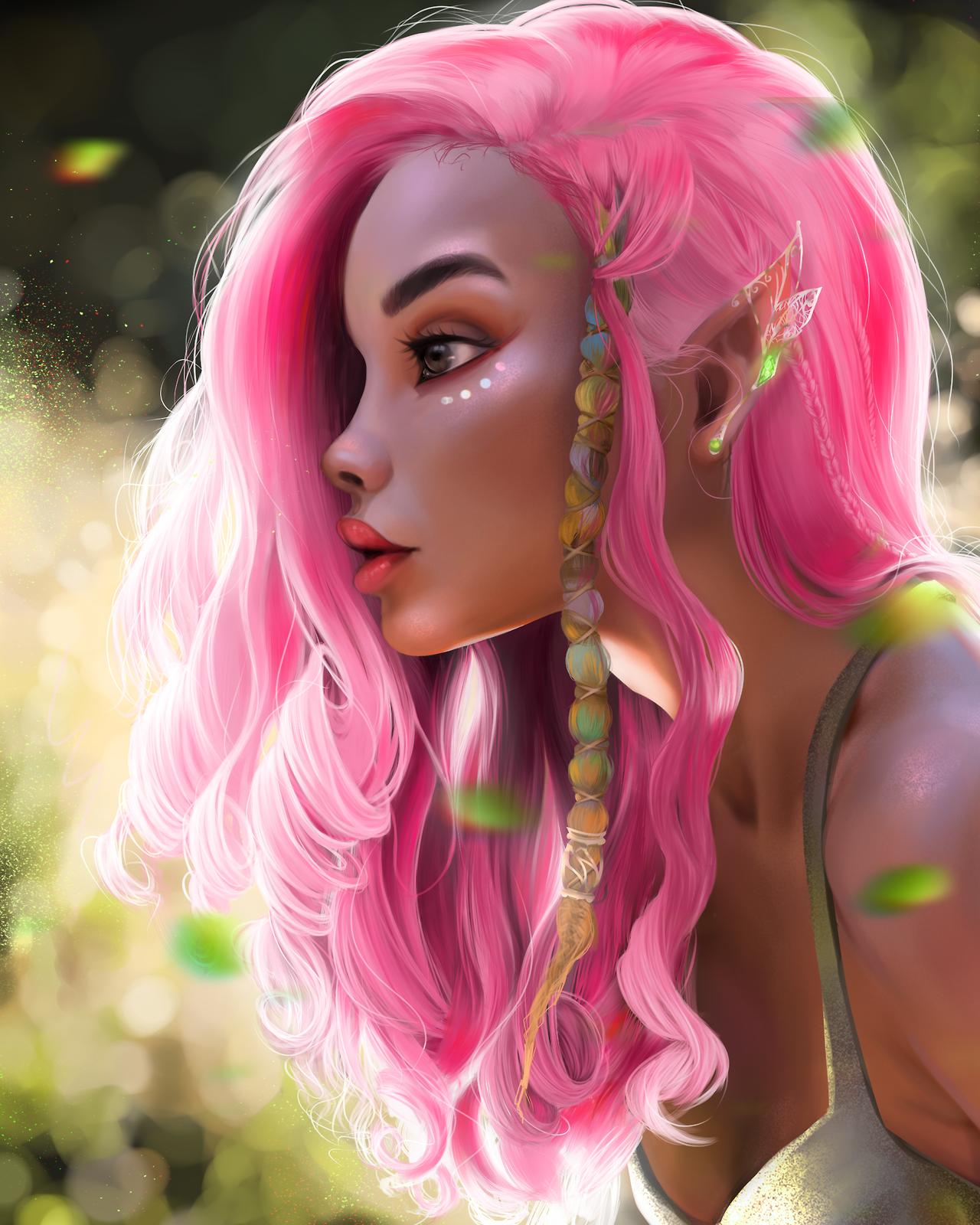 pink elf Tumblr digitalart digital art anime in 2020