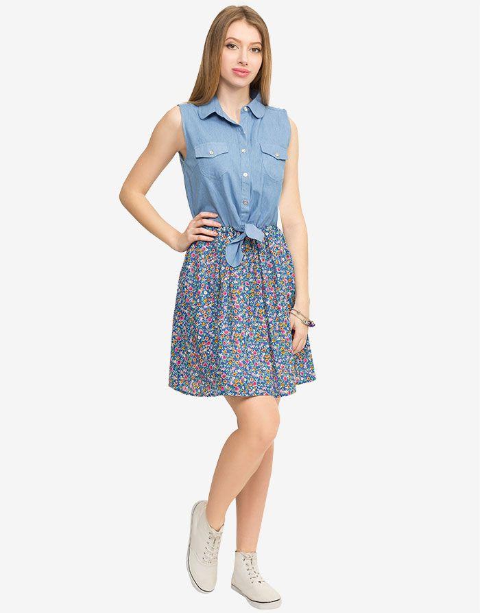 Джинсовое платье с цветочной юбкой - Глория Джинс, GDR005963 | Gloria Jeans