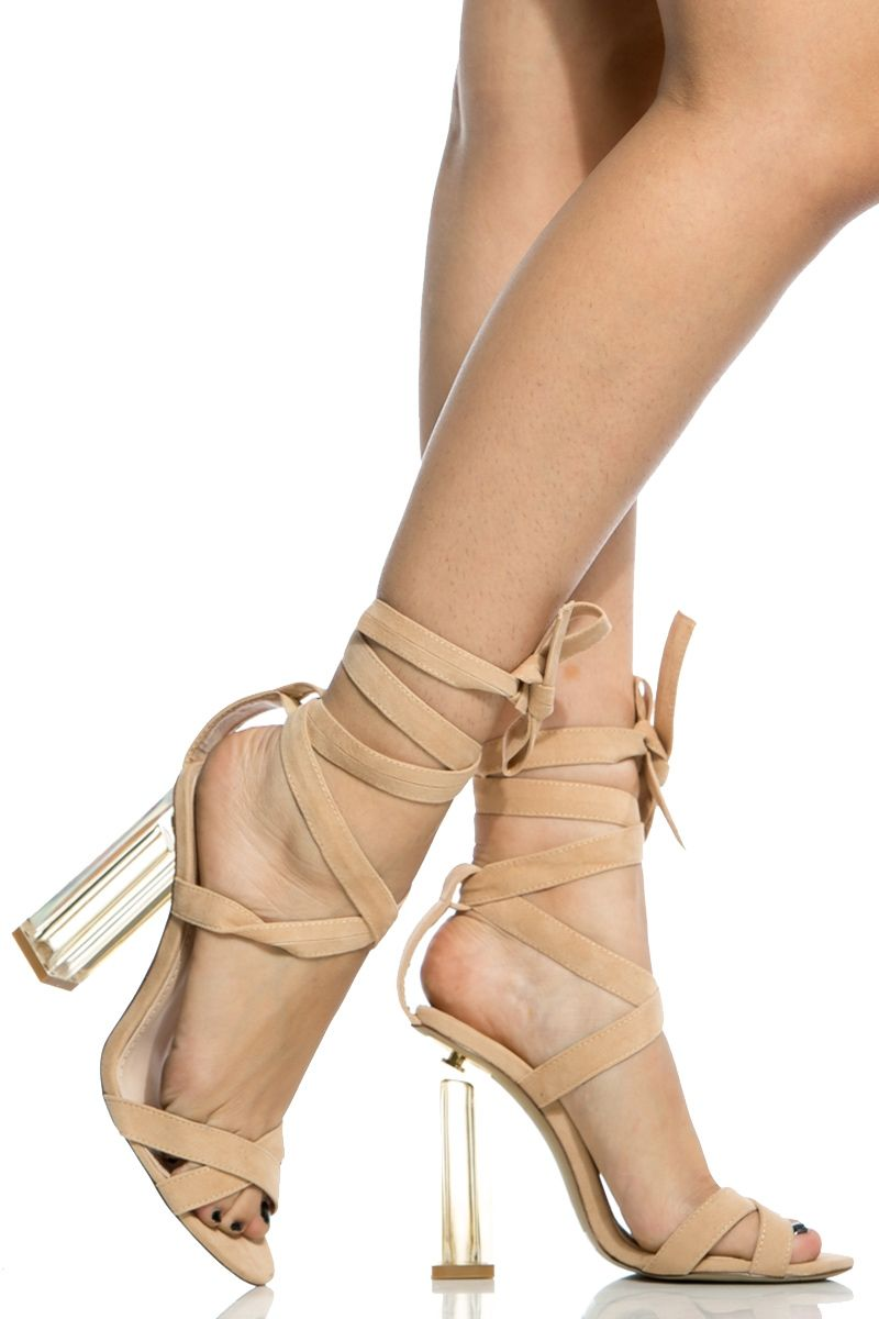 Nude Faux Suede Chunky Wrap Around Translucent Heels @ Cicihot ...