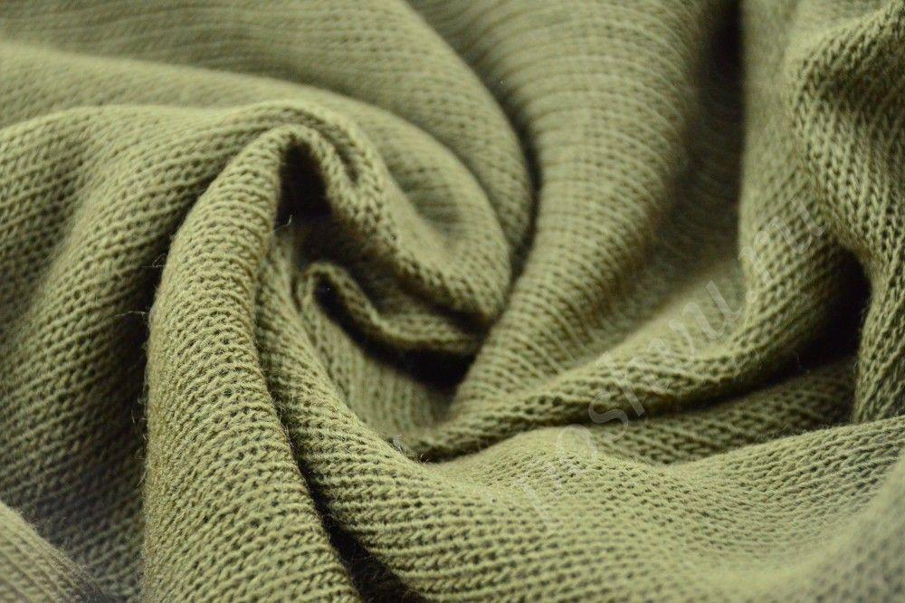 Прекрасная трикотажная ткань оливково-песочного оттенка