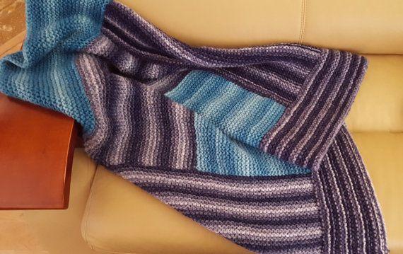 Knit Blanket Chunky Blanket Very soft Blanket. by BiziKnitting4You