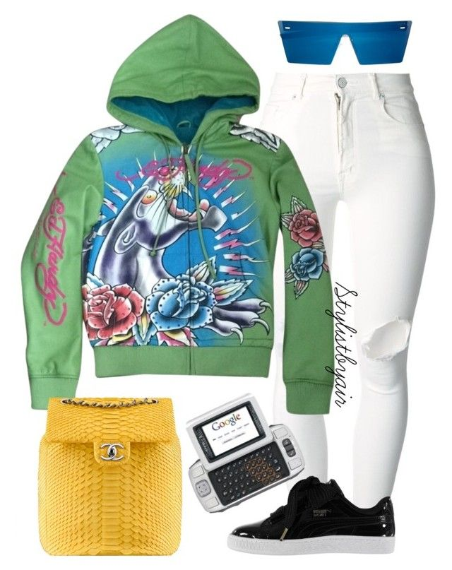 """Untitled #6804"" by stylistbyair ❤ liked on Polyvore featuring (+) PEOPLE, Ed Hardy, RetroSuperFuture, Chanel and Puma"
