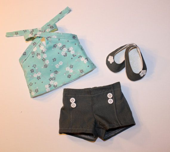 American Girl teal halter top gray shorts by StarabellaDollDesign