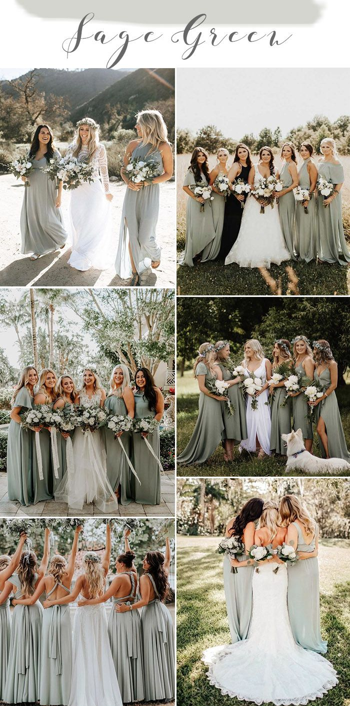 30 Natural Sage Green Theme Wedding Ideas - Elegantweddinginvites.com Blog -   18 sage green bridesmaid dresses fall ideas