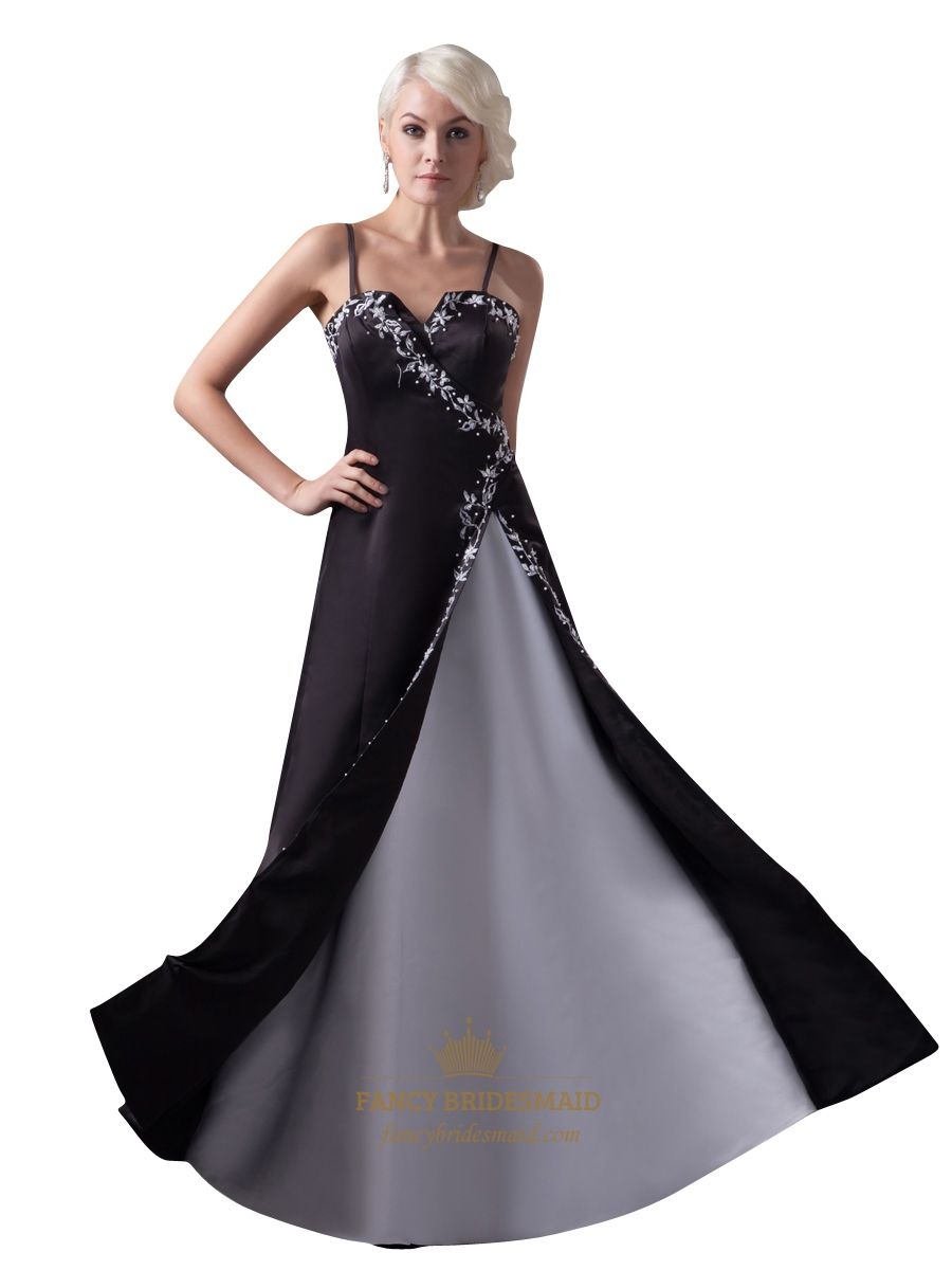 Black and white spaghetti strap split front prom dress with