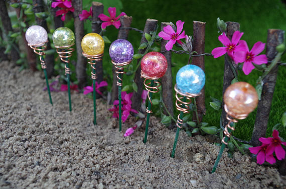 Photo of Shimmery Cracked Glass Fairy Garden Gazing Ball (1) Miniature Garden
