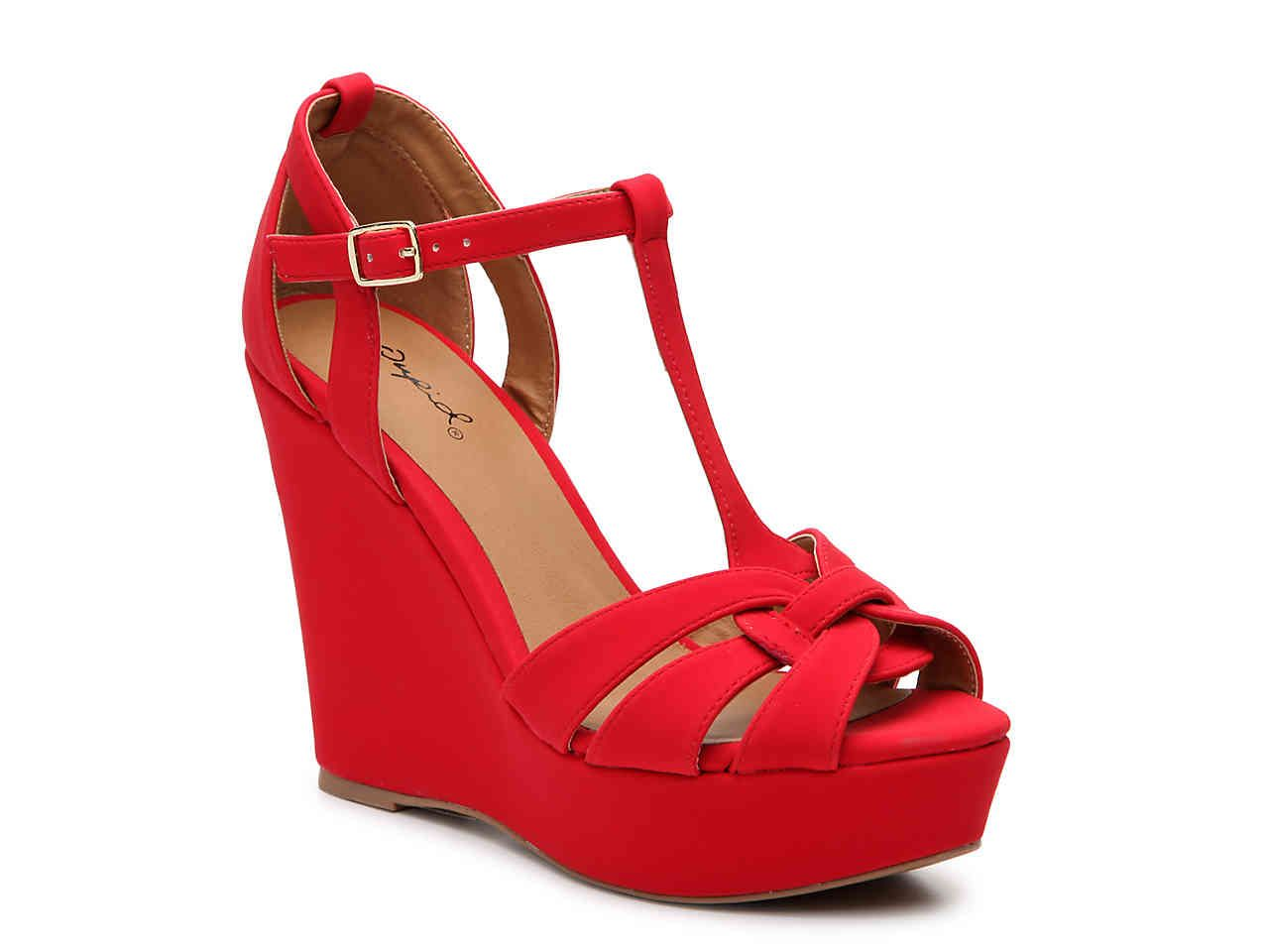 Qupid Clemence 273 Wedge Sandal Red Wedge Shoes Wedges Wedge Sandals