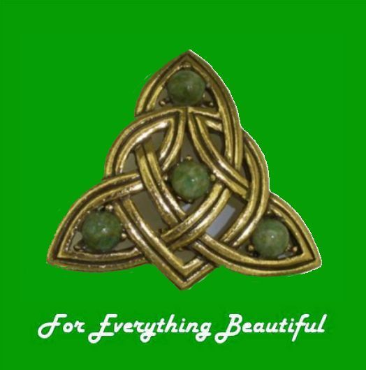 Silver Plated Trinity Knot Design Pendant with A Green Connemara Stone