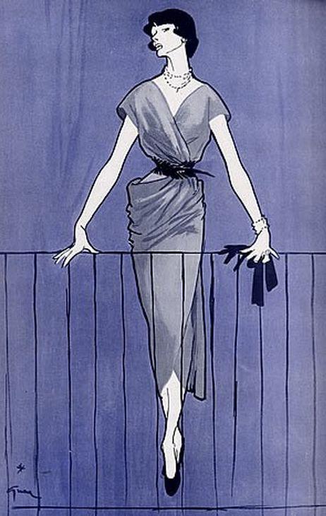 artdeandra:  Fashion Illustrator René Gruau, Oct. 1948, Marcel Rochas, French Magazine Femina