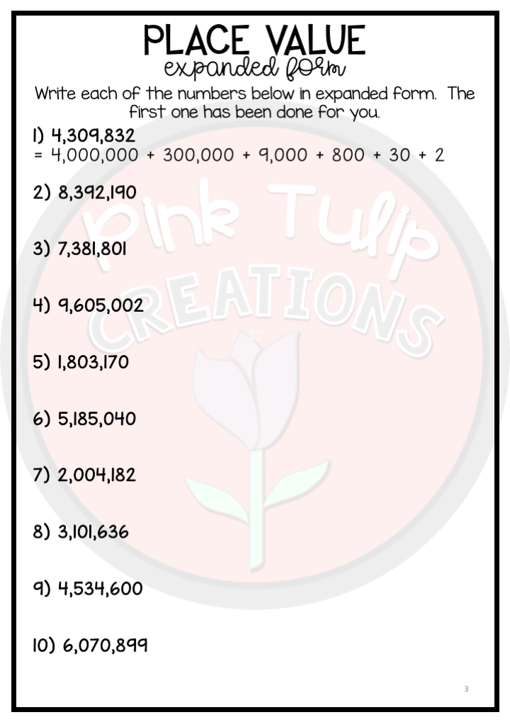 expanded form 5 002 190  Place Value Into The Millions - Worksheet Pack | Place ...