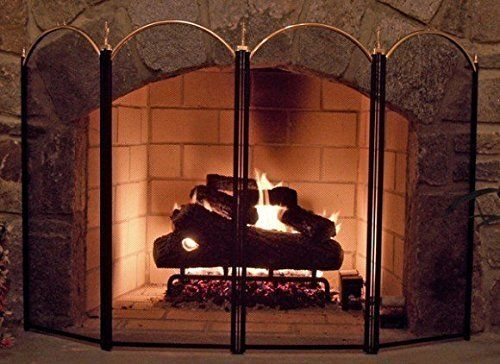 Large Gold Fireplace Screen 4 Panel Ornate Wrought Iron Black Metal Fire Place Standing Gate Dec Gold Fireplace Screen Fireplace Screens Glass Fireplace Screen