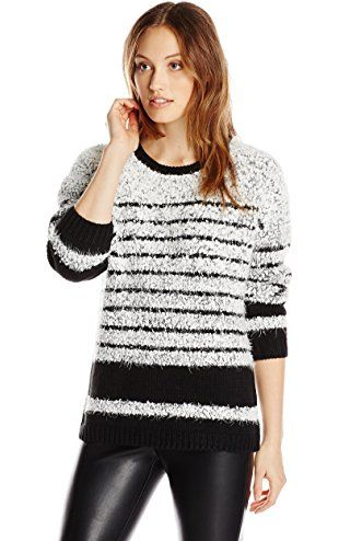 Calvin Klein Womens Striped Eyelash Pullover Blackwhite X Large