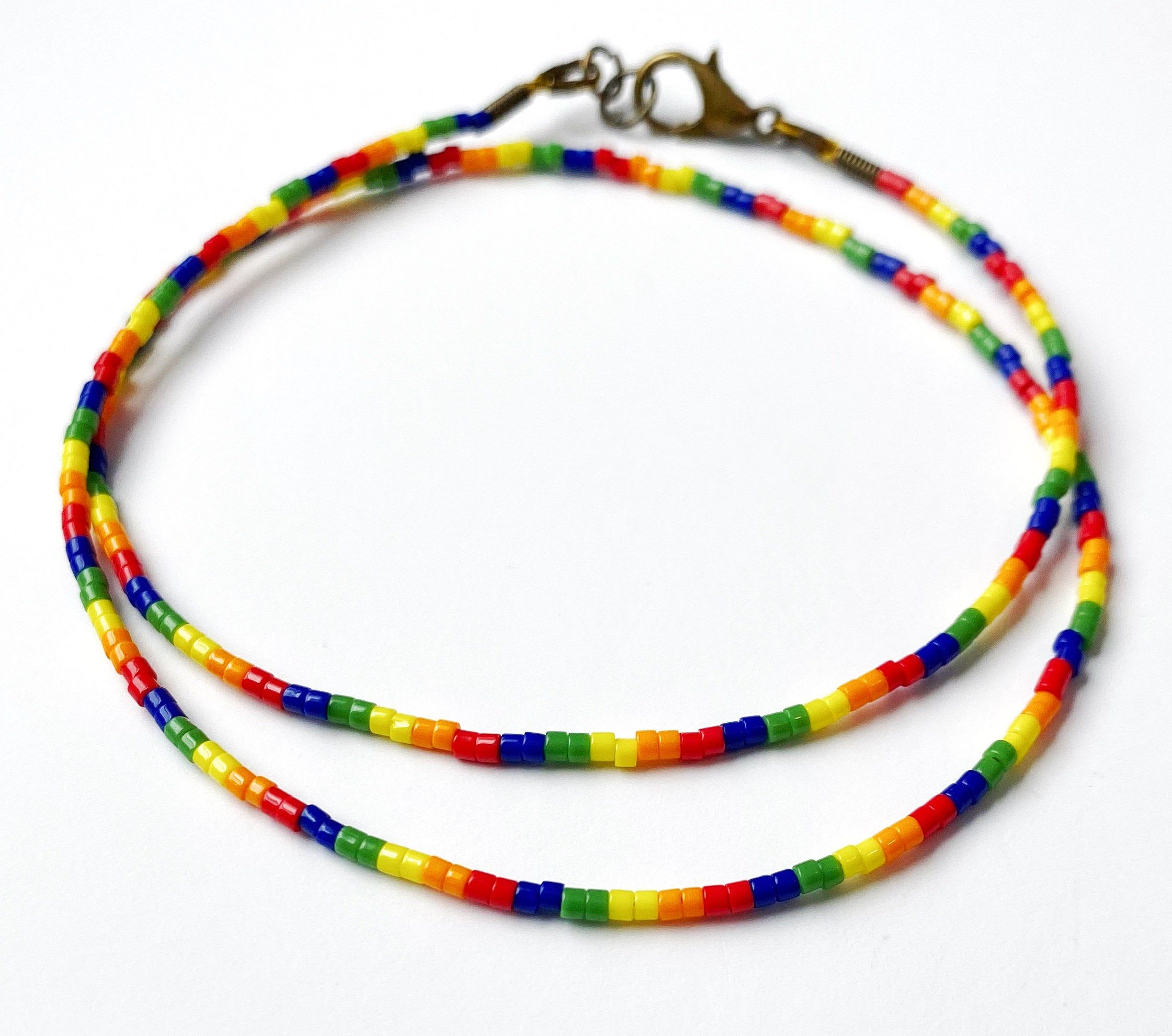 subtle lesbian pride seed bead necklace