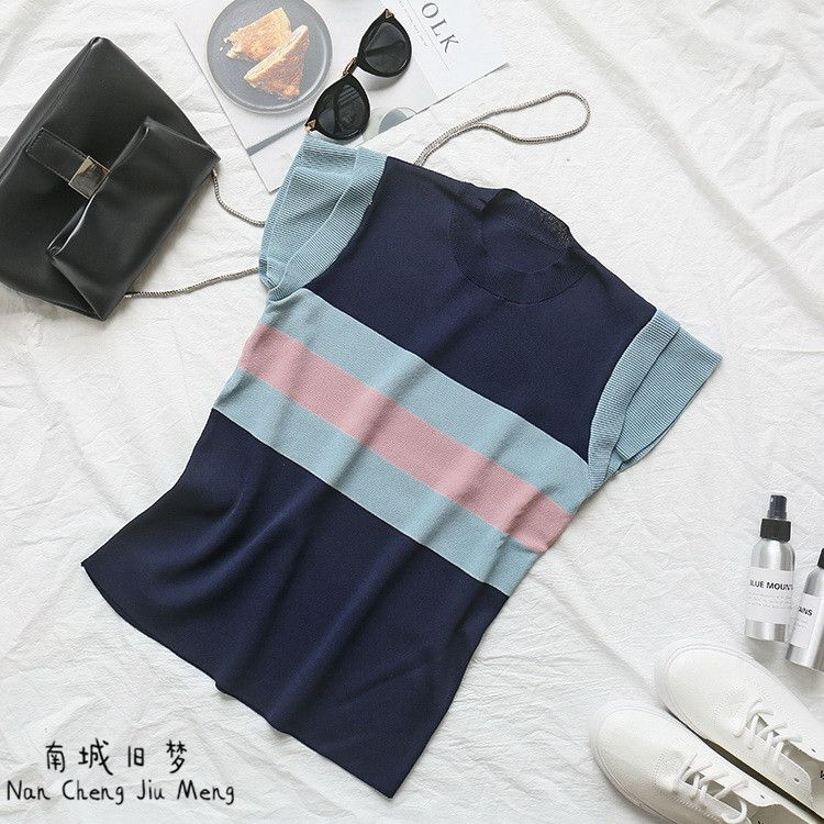 Summer new lotus leaf sleeves fight color stripes Western style ice silk sweater women - Taobao