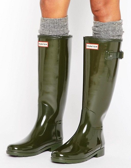 wholesale dealer ab00d c2d60 Hunter Original – Refined – Glänzende Gummistiefel mit hohem ...