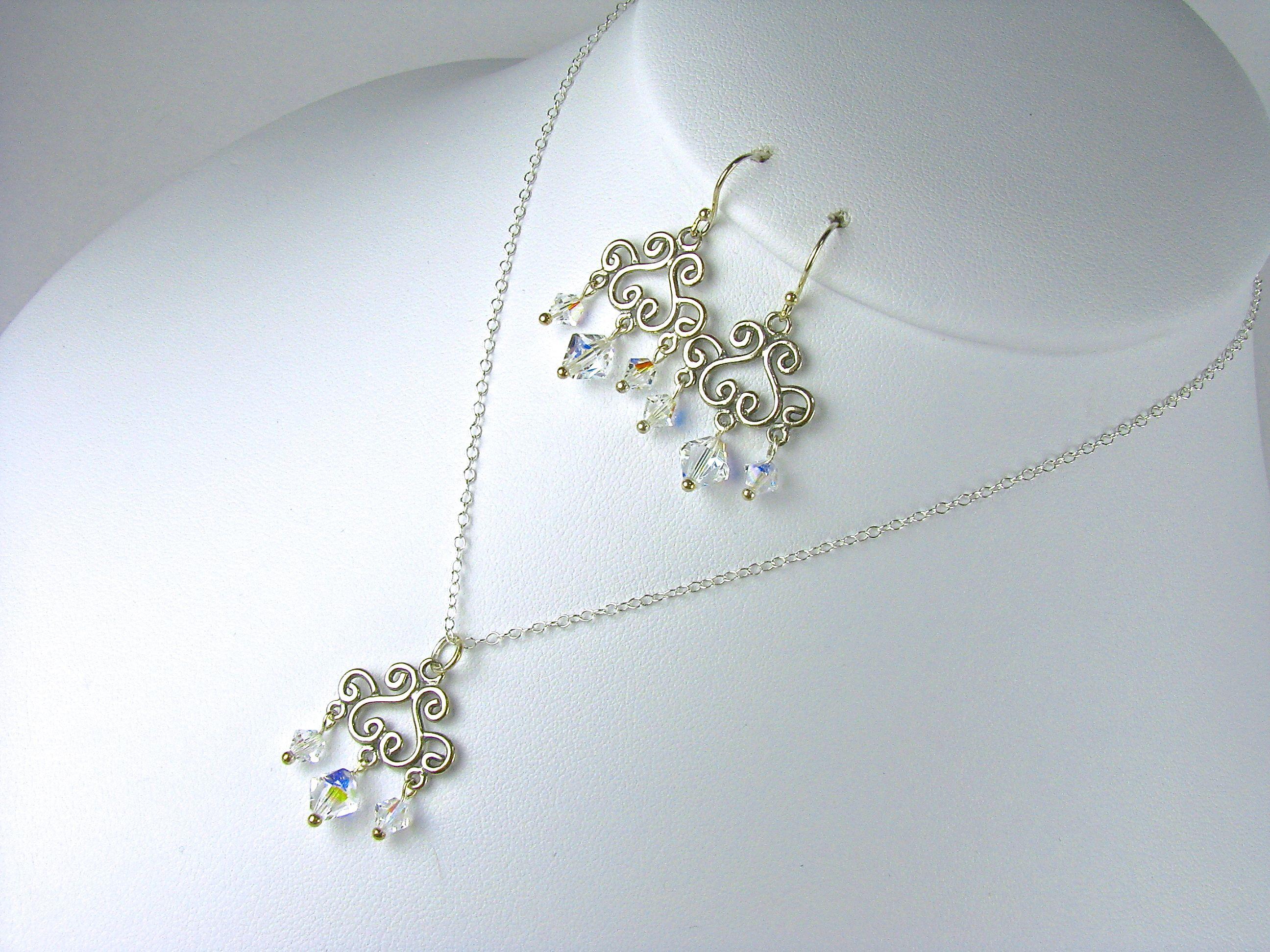 Chandelier Bridesmaids Necklace Set. Solid Sterling Silver Chandelier Swarovski Crystals. Charlotte