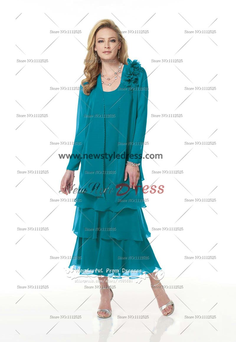 Elegant Chiffon Layered Nice Turquoise Mid-Calf Mother of the Bride ...