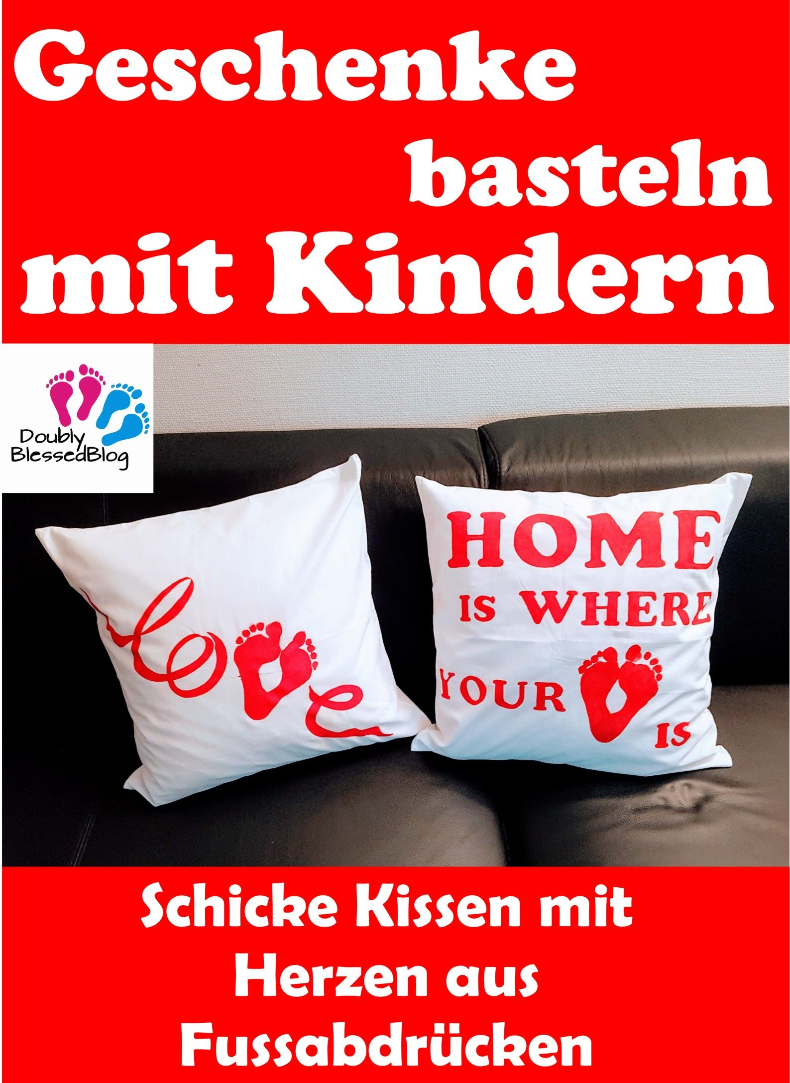 geschenke basteln mit kindern schicke kissen mit herzen aus fussabdr cken geschenke basteln. Black Bedroom Furniture Sets. Home Design Ideas