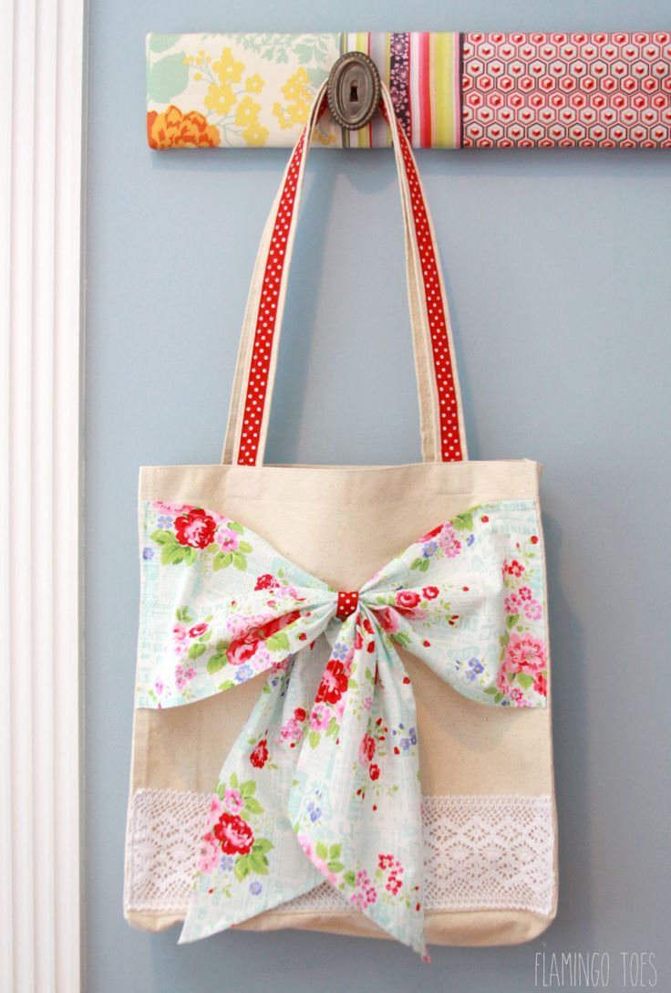Fabric and Lace Bow Tote -