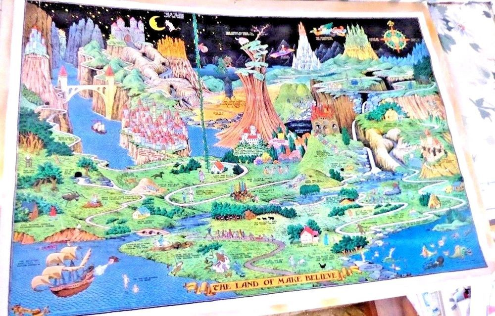 Lovely Cartoon Map The Land Of Make Believe By Jaro Hess 1958 Cartoon Map Map Pictorial Maps