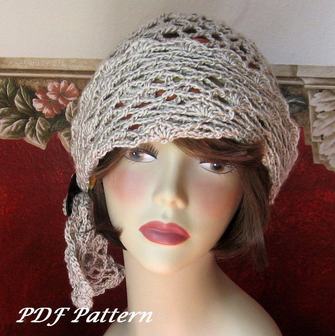 Crochet Pattern Womens Flapper Hat Open Mesh Motiff With Draped Trim ...