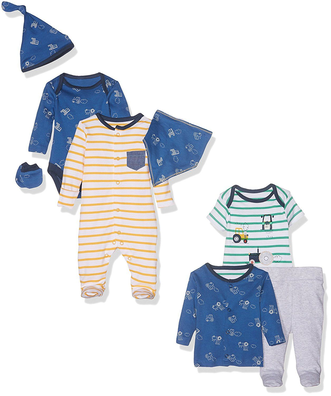 21c6573a9158b Mothercare Baby Boys' 8pc Set Newborn Little Farmer Bodysuit | Boys ...