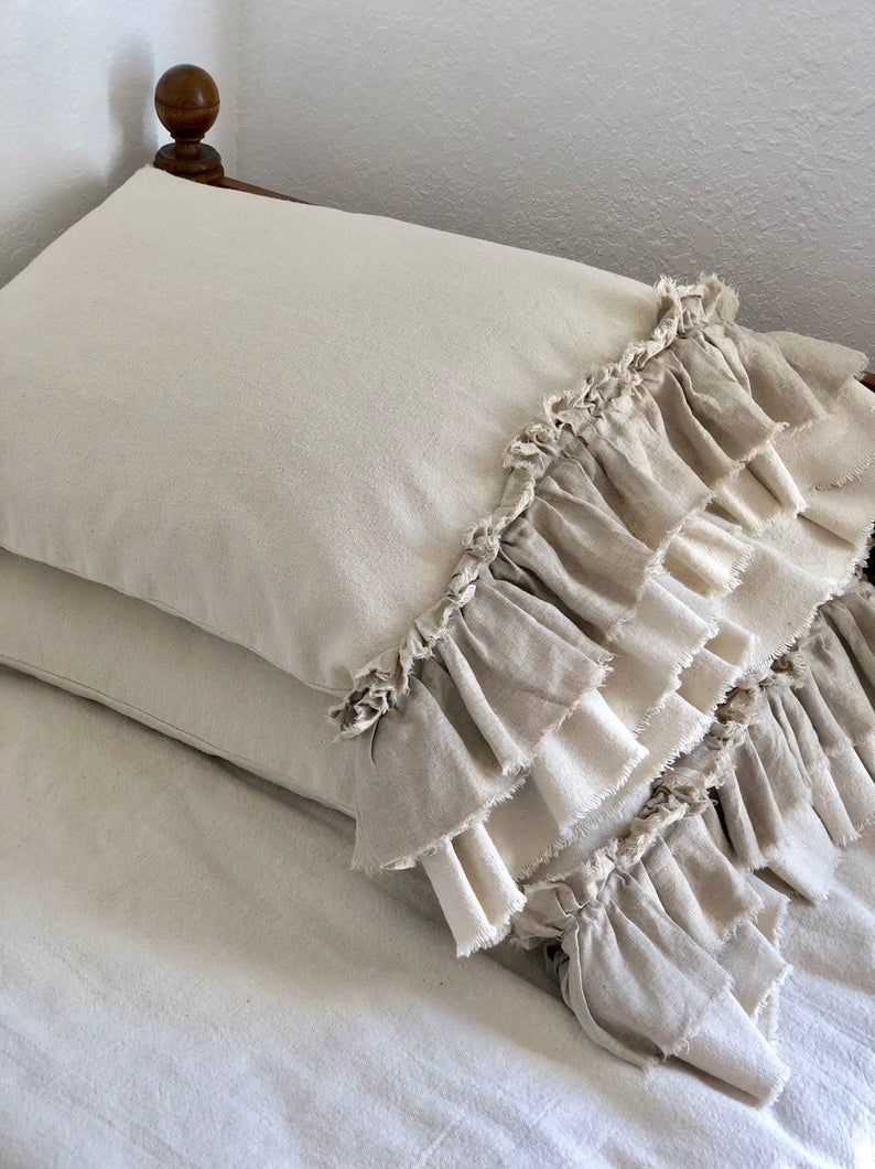 A Pair of custom,cotton Canvas,Shams Pillow Covers,Long Raw frayed edge Ruffles,French Country,Farmhouse bedding