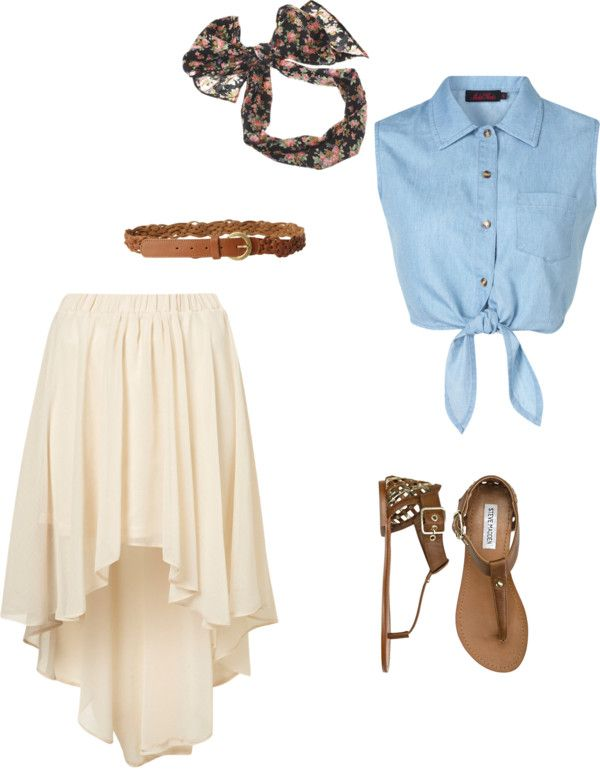 summer outfits / Denim Sleeveless Top + White Pleated Skirt